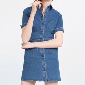 Zara TRF Blue Denim Button Up Dress, XS (NWOT)